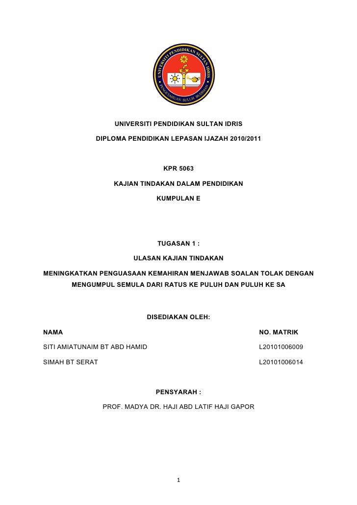 UNIVERSITI PENDIDIKAN SULTAN IDRIS                DIPLOMA PENDIDIKAN LEPASAN IJAZAH 2010/2011                             ...