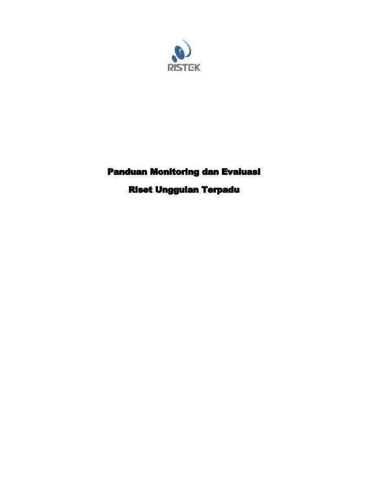 Panduan Monitoring dan Evaluasi    Riset Unggulan Terpadu