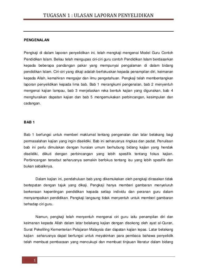 TUGASAN 1 : ULASAN LAPORAN PENYELIDIKAN  PENGENALAN  Pengkaji di dalam laporan penyelidikan ini, telah mengkaji mengenai M...