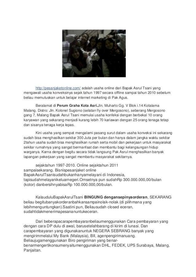 Laporan study banding pak asrul tsani, pesan jaket online.com