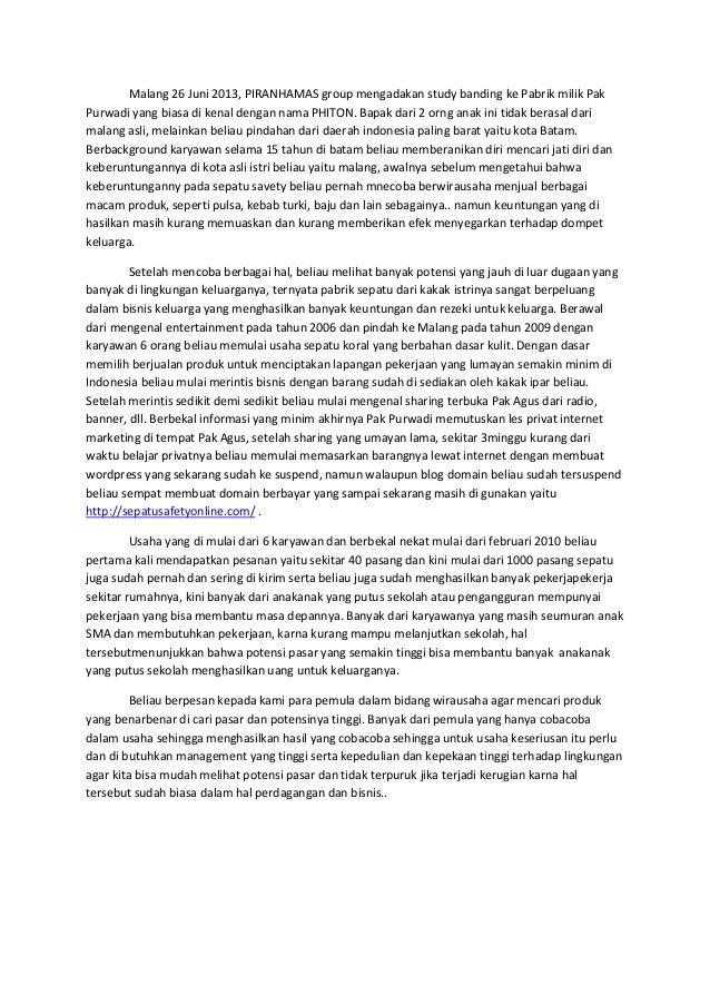 Laporan study banding pak purwadi, spatu safety online