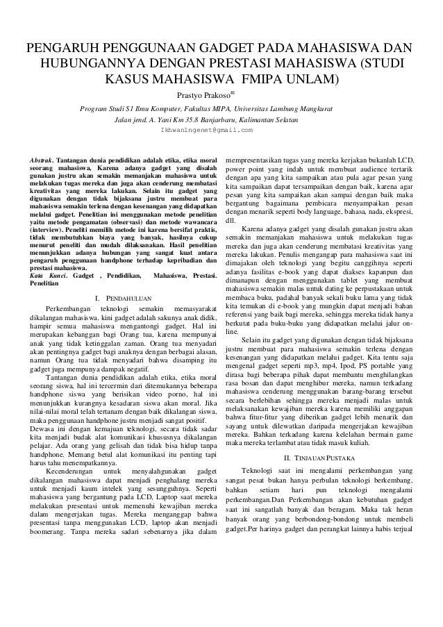 Laporan tahap 1 (PENGARUH PENGGUNAAN GADGET PADA MAHASISWA DAN HUBUNGANNYA DENGAN PRESTASI MAHASISWA (STUDI KASUS MAHASISWA  FMIPA UNLAM))