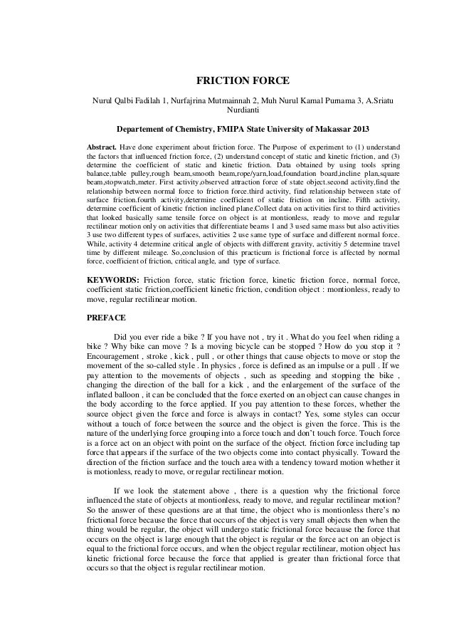 FRICTION FORCE Nurul Qalbi Fadilah 1, Nurfajrina Mutmainnah 2, Muh Nurul Kamal Purnama 3, A.Sriatu Nurdianti Departement o...