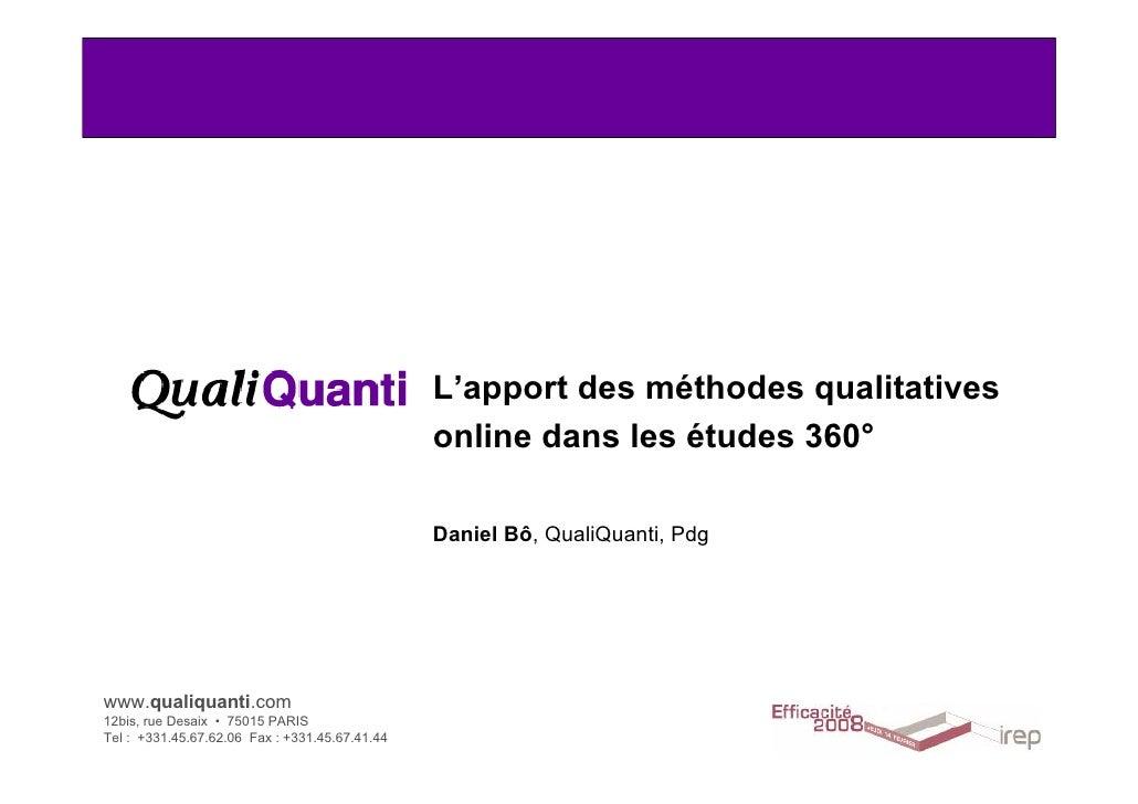 L'apport des méthodes qualitatives                                                 online dans les études 360°            ...