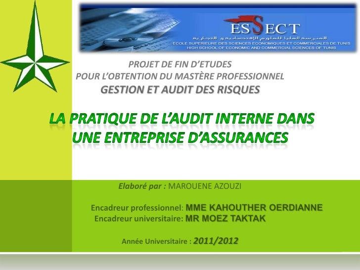 La pratique de l'audit interne dans une entreprise d'assurances