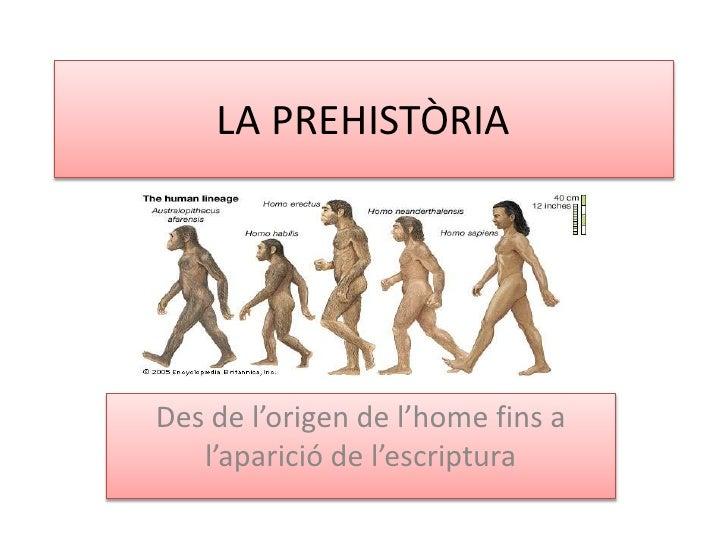 LA PREHISTÒRIADes de l'origen de l'home fins a   l'aparició de l'escriptura