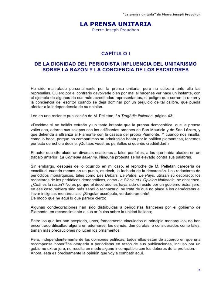 """""""La prensa unitaria"""" de Pierre Joseph Proudhon                               LA PRENSA UNITARIA                           ..."""