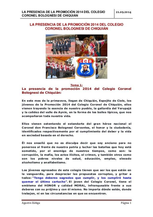 LA PRESENCIA DE LA PROMOCIÓN 2014 DEL COLEGIO  CORONEL BOLOGNESI DE CHIQUIÁN  ..  LA PRESENCIA DE LA PROMOCIÓN 2014 DEL CO...