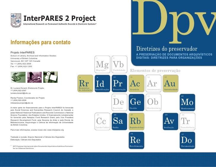 La preservación de documentos digitales de archivo directrices para las organizaciones - portuguese