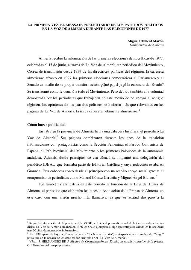 LA PRIMERA VEZ. EL MENSAJE PUBLICITARIO DE LOS PARTIDOS POLÍTICOS EN LA VOZ DE ALMERÍA DURANTE LAS ELECCIONES DE 1977  Mig...