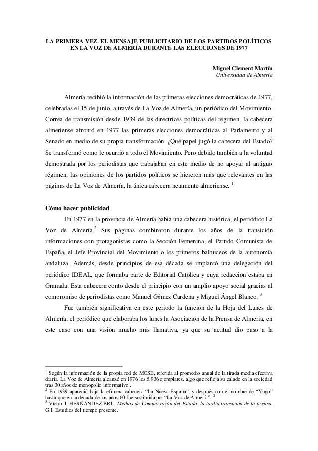 La primera vez. Mensajes publicitarios de los partidos políticos de Almería en las elecciones de 1977
