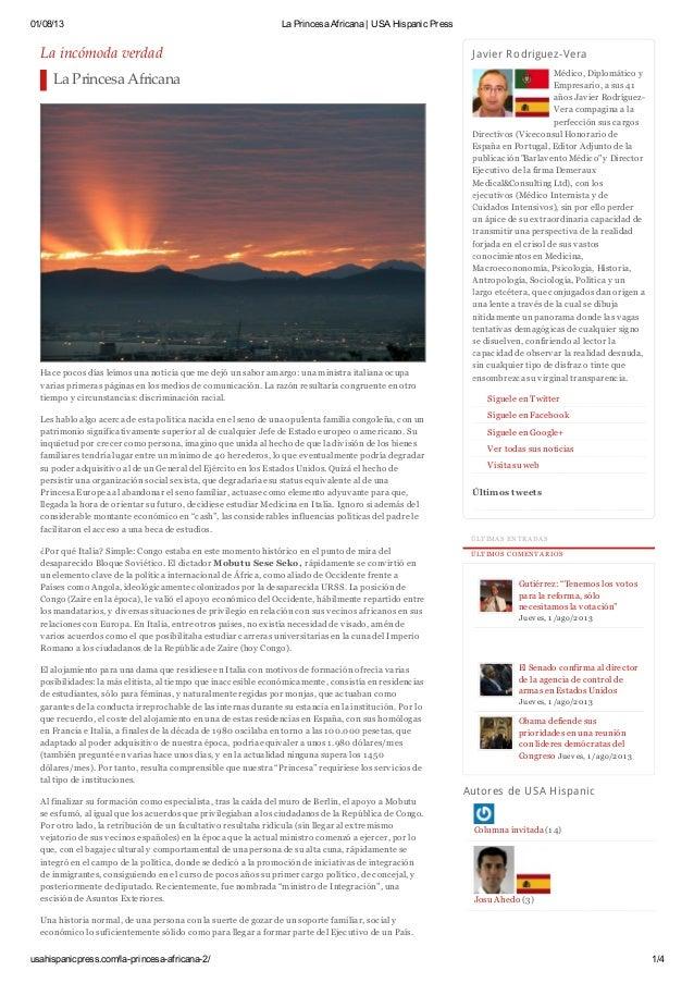01/08/13 La Princesa Africana | USA Hispanic Press usahispanicpress.com/la-princesa-africana-2/ 1/4 La incómoda verdad La ...