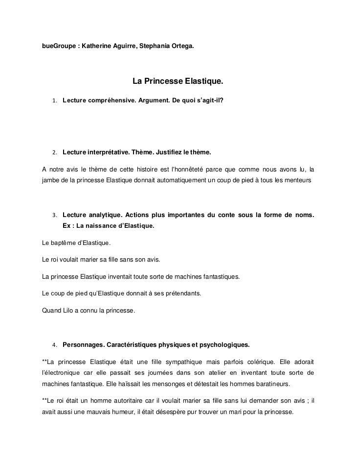 bueGroupe : Katherine Aguirre, Stephania Ortega.                                  La Princesse Elastique.   1. Lecture com...