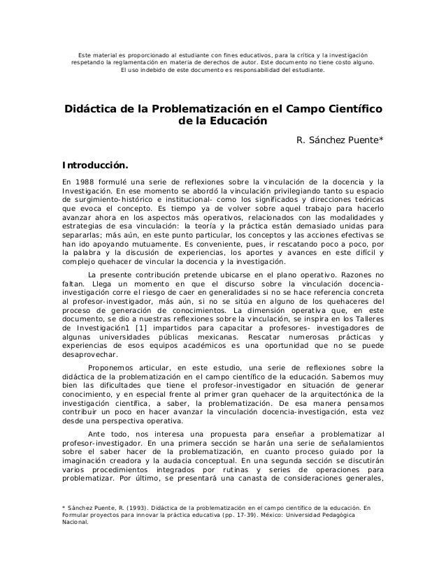 DIDÁCTICA DE LA PROBLEMATIZACIÓN, ARTÍCULO ACADÉMICO