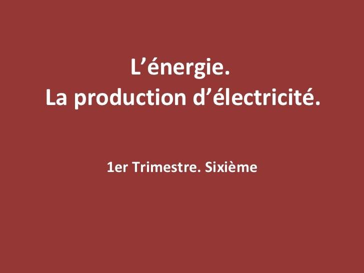 L'énergie.  La production d'électricité. 1er Trimestre. Sixième