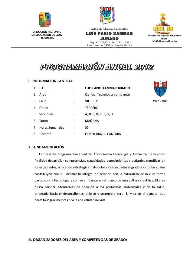 Institución Educativa Emblemática   DIRECCIÓN REGIONAL  DE EDUCACIÓN DE LIMA                LUÍS FABIO XAMMAR             ...