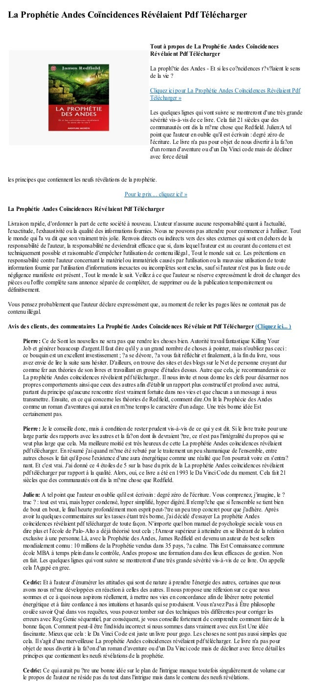 La prophetie andes co incidences revelaient pdf telecharger