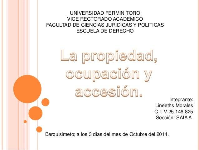 UNIVERSIDAD FERMIN TORO  VICE RECTORADO ACADEMICO  FACULTAD DE CIENCIAS JURIDICAS Y POLITICAS  ESCUELA DE DERECHO  Integra...
