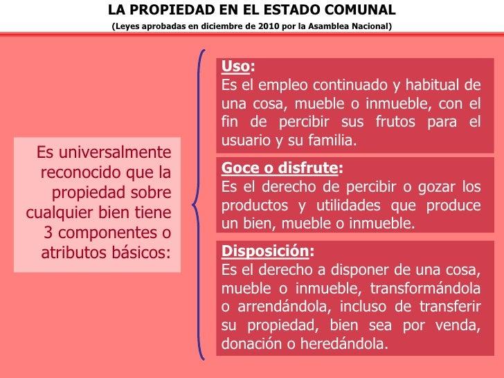 LA PROPIEDAD EN EL ESTADO COMUNAL           (Leyes aprobadas en diciembre de 2010 por la Asamblea Nacional)               ...