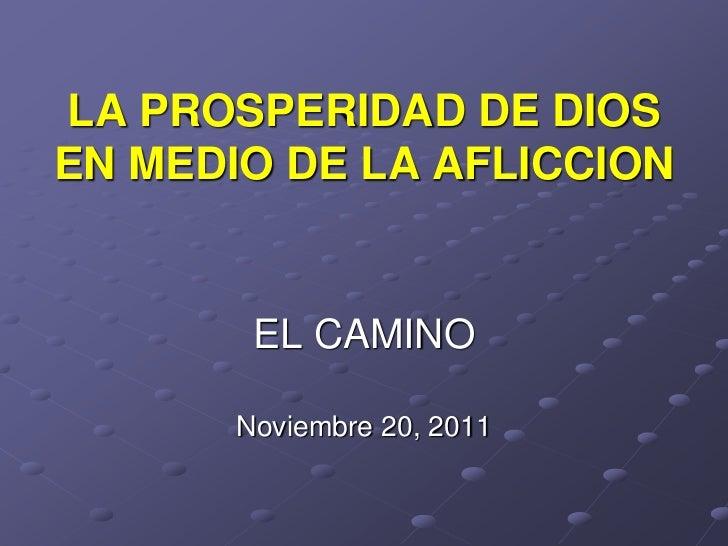 LA PROSPERIDAD DE DIOSEN MEDIO DE LA AFLICCION        EL CAMINO       Noviembre 20, 2011