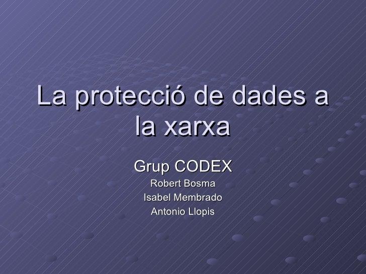La protecció de dades a la xarxa Grup CODEX Robert Bosma Isabel Membrado Antonio Llopis