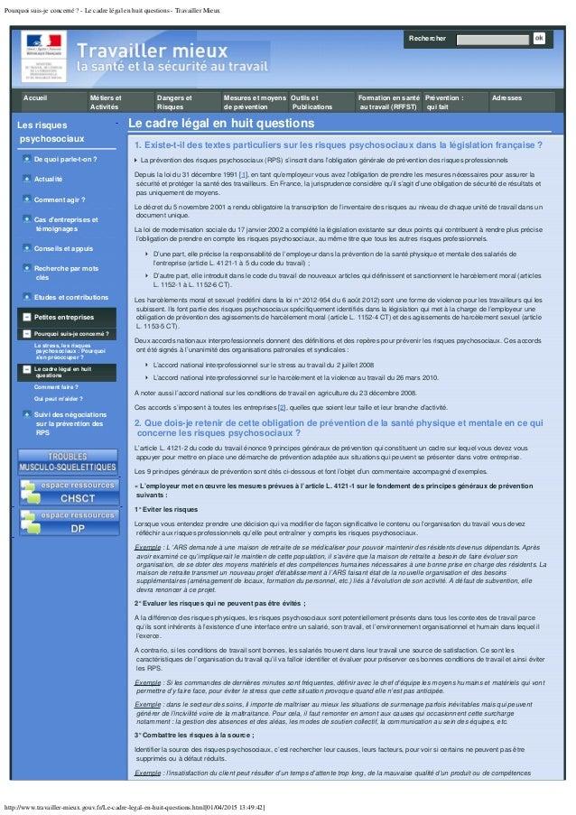 Pourquoi suis-je concerné ? - Le cadre légal en huit questions - Travailler Mieux http://www.travailler-mieux.gouv.fr/Le-c...