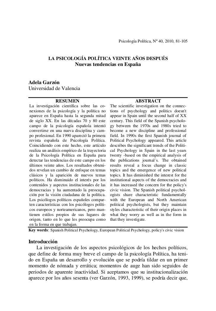 Psicología Política, Nº 40, 2010, 81-105           LA PSICOLOGÍA POLÍTICA VEINTE AÑOS DESPUÉS                           Nu...