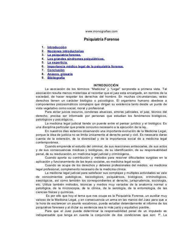 www.monografias.com                                  Psiquiatría Forense    1.   Introducción    2.   Nociones introductor...