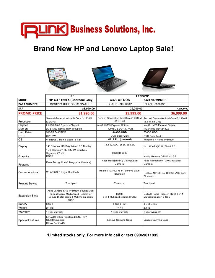 Brand New HP and Lenovo Laptop Sale!                                       HP*                                            ...