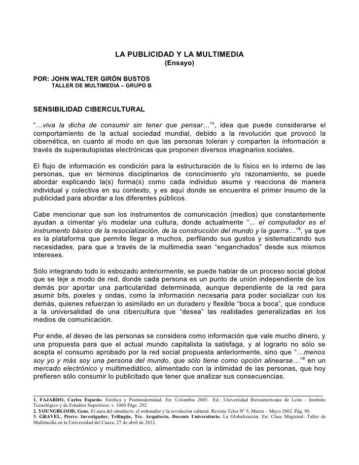 LA PUBLICIDAD Y LA MULTIMEDIA                                                           (Ensayo)POR: JOHN WALTER GIRÓN BUS...