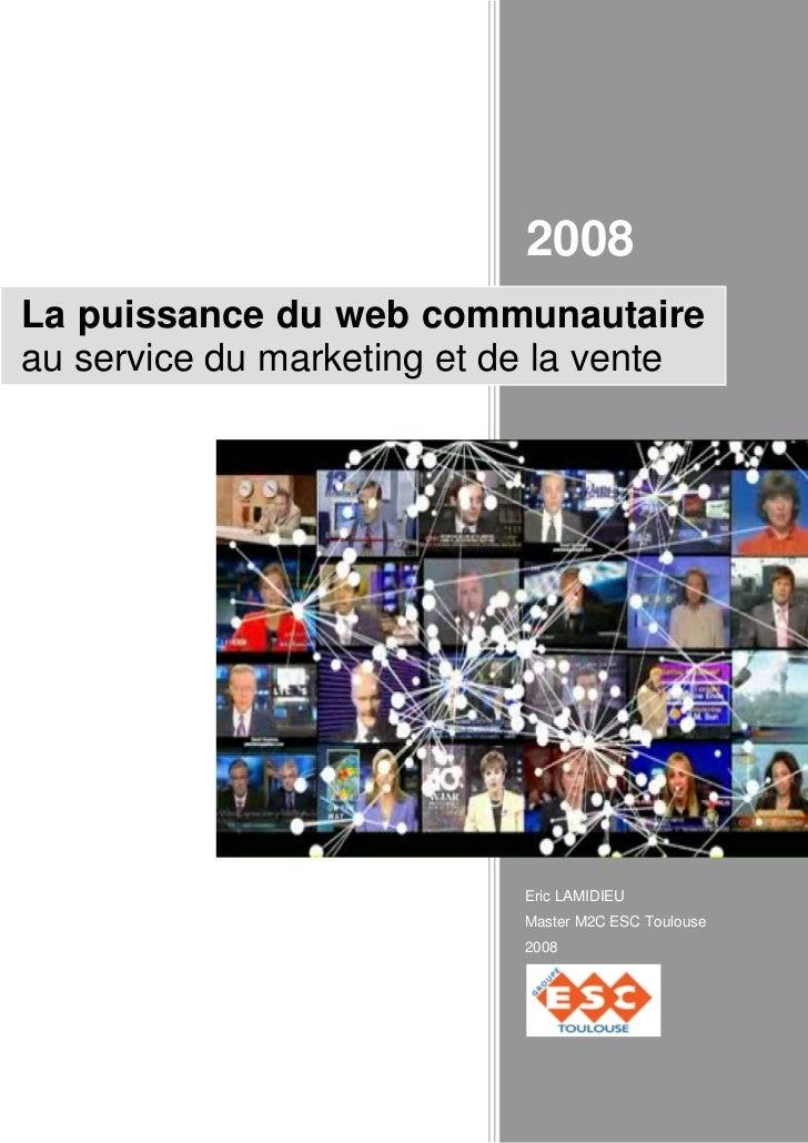 2008La puissance du web communautaireau service du marketing et de la vente                           Eric LAMIDIEU       ...