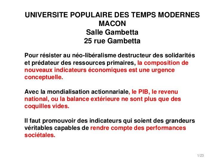 UNIVERSITE POPULAIRE DES TEMPS MODERNES                   MACON               Salle Gambetta              25 rue GambettaP...