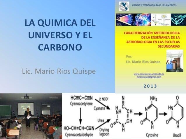 EVOLUCION QUIMICA DEL UNIVERSO Y EL CARBONO