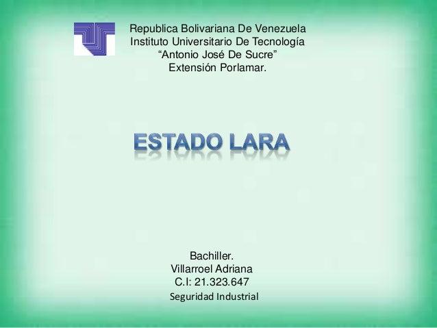 """Republica Bolivariana De VenezuelaInstituto Universitario De Tecnología       """"Antonio José De Sucre""""         Extensión Po..."""