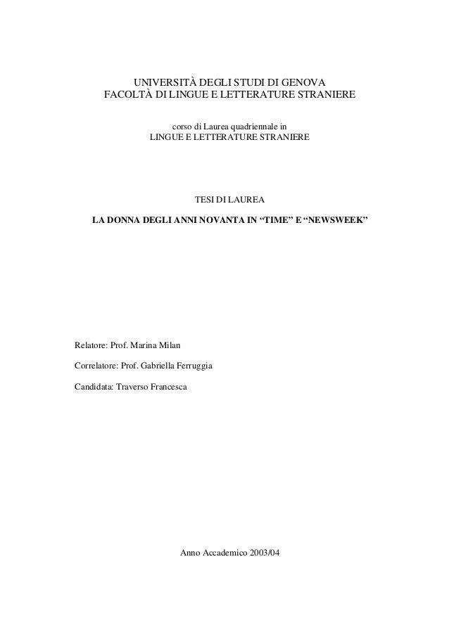 UNIVERSITÀ DEGLI STUDI DI GENOVA FACOLTÀ DI LINGUE E LETTERATURE STRANIERE corso di Laurea quadriennale in LINGUE E LETTER...