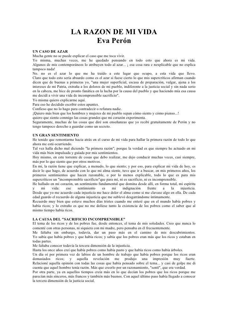 LA RAZON DE MI VIDA                               Eva Perón UN CASO DE AZAR Mucha gente no se puede explicar el caso que m...