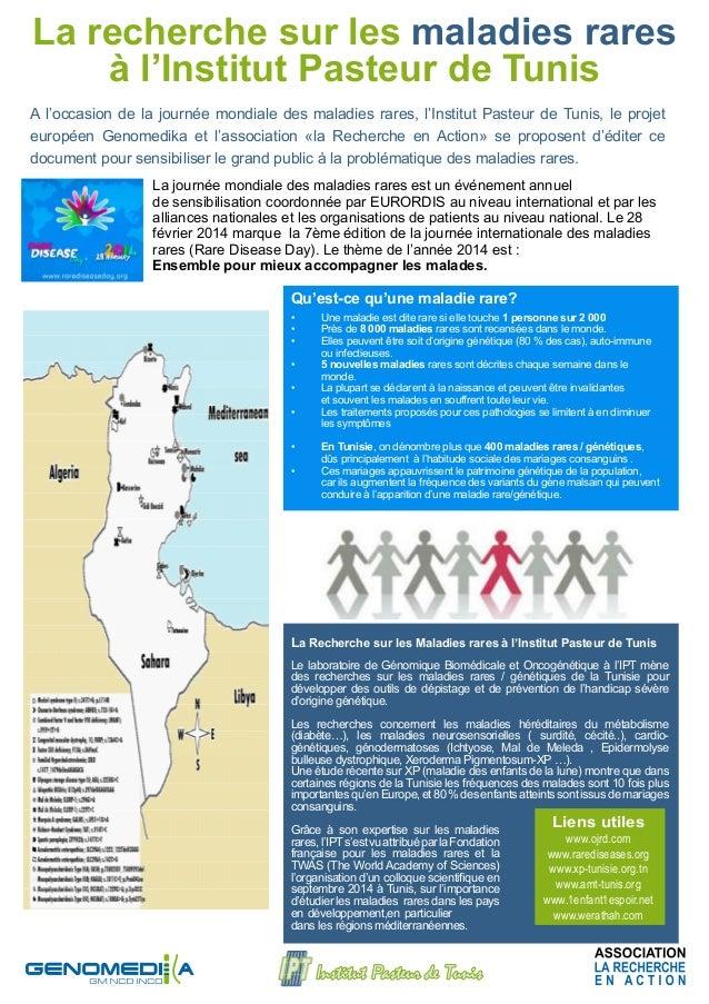La recherche sur les maladies rares à l'Institut Pasteur de Tunis A l'occasion de la journée mondiale des maladies rares, ...