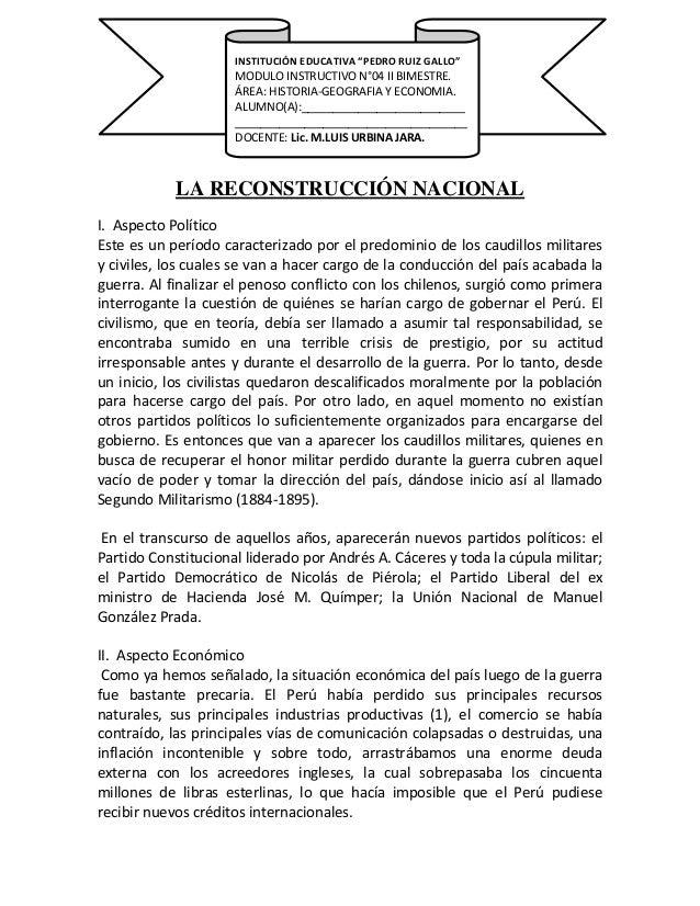 LA RECONSTRUCCIÓN NACIONAL I. Aspecto Político Este es un período caracterizado por el predominio de los caudillos militar...