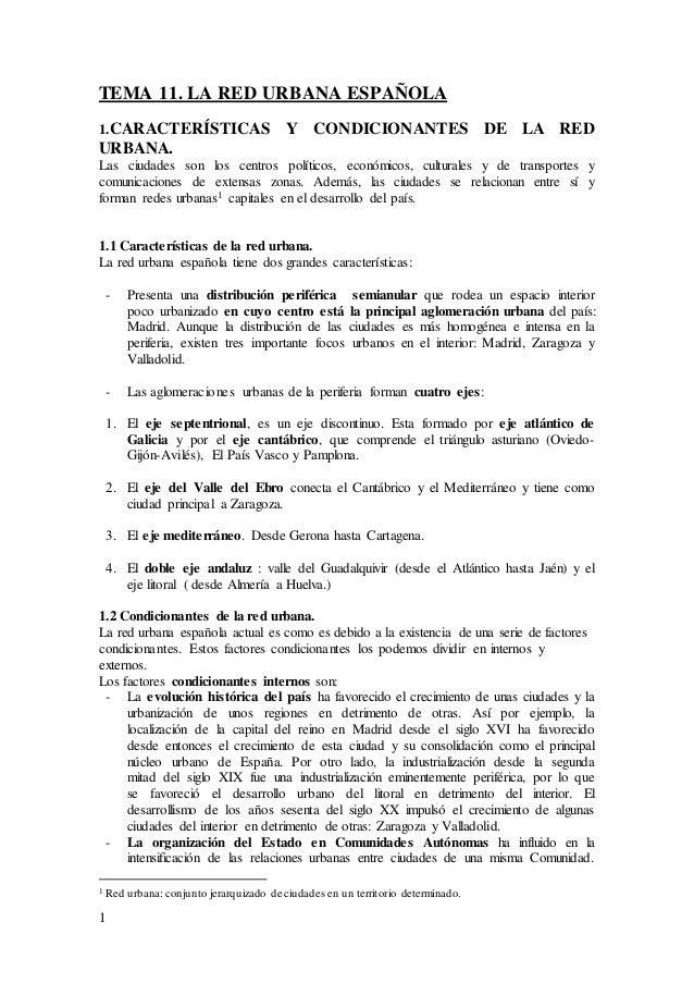 1 TEMA 11. LA RED URBANA ESPAÑOLA 1.CARACTERÍSTICAS Y CONDICIONANTES DE LA RED URBANA. Las ciudades son los centros políti...