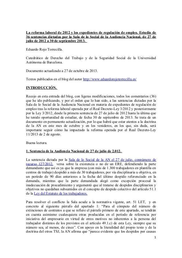 La reforma laboral de 2012 y los Expedientes de Regulación de Empleo. Estudio de 36 sentencias dictadas por la Sala de lo Social de la Audiencia Nacional (27 julio 2012 – 30 septiembre 2013).