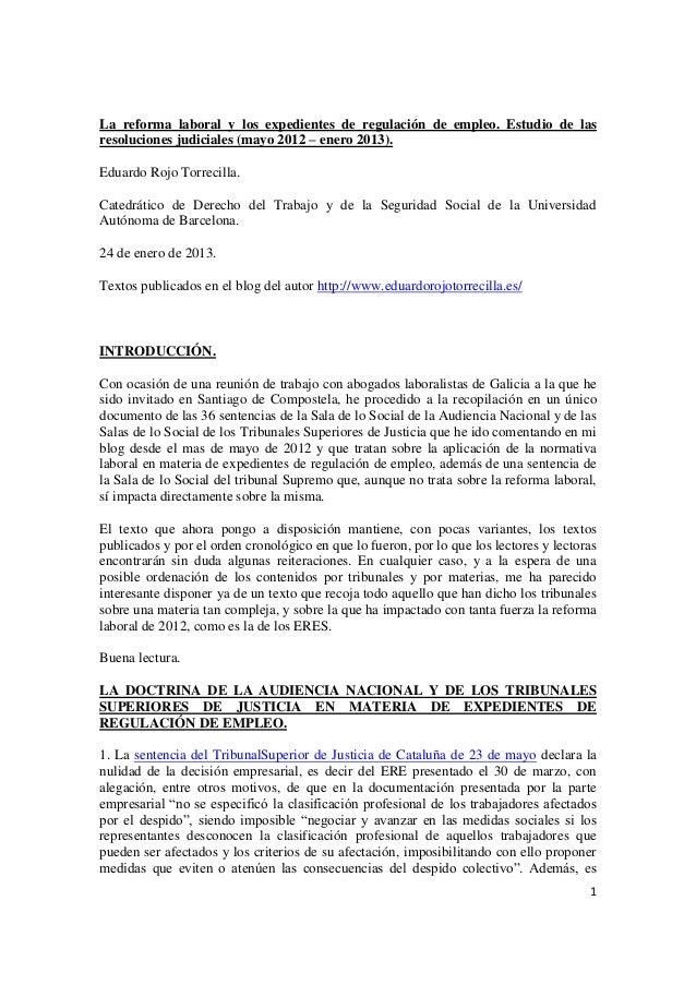 La reforma laboral de 2012 y los expedientes de regulación de empleo. Estudio de las resoluciones judiciales (de mayo 2012 a enero 2013).