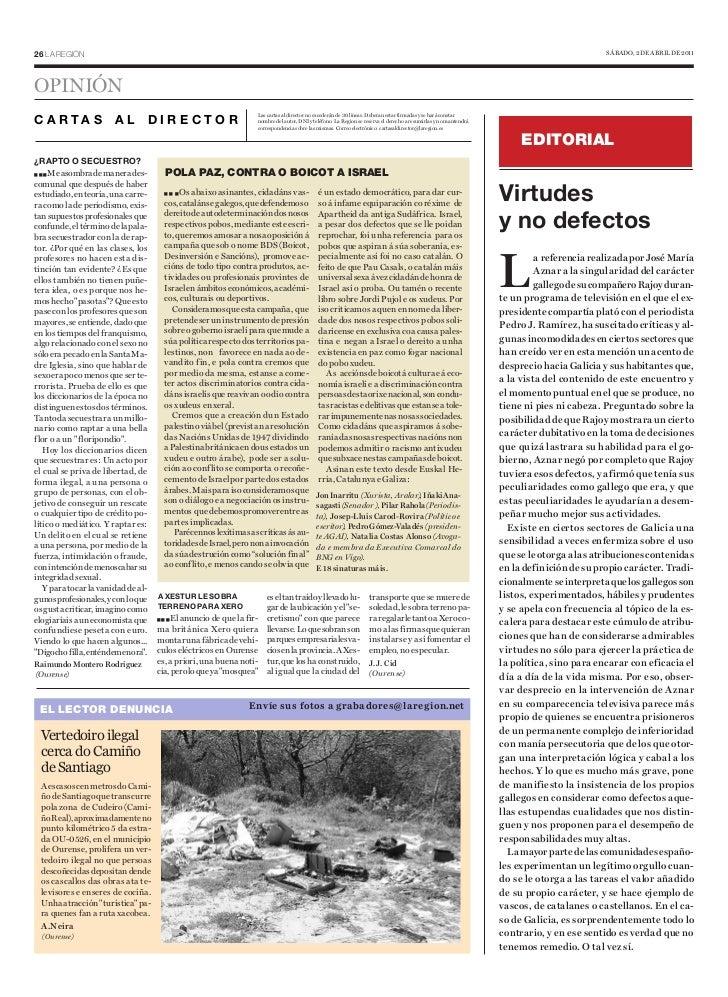 Pola Paz contra o Boicot a Israel . La Region de Ourense