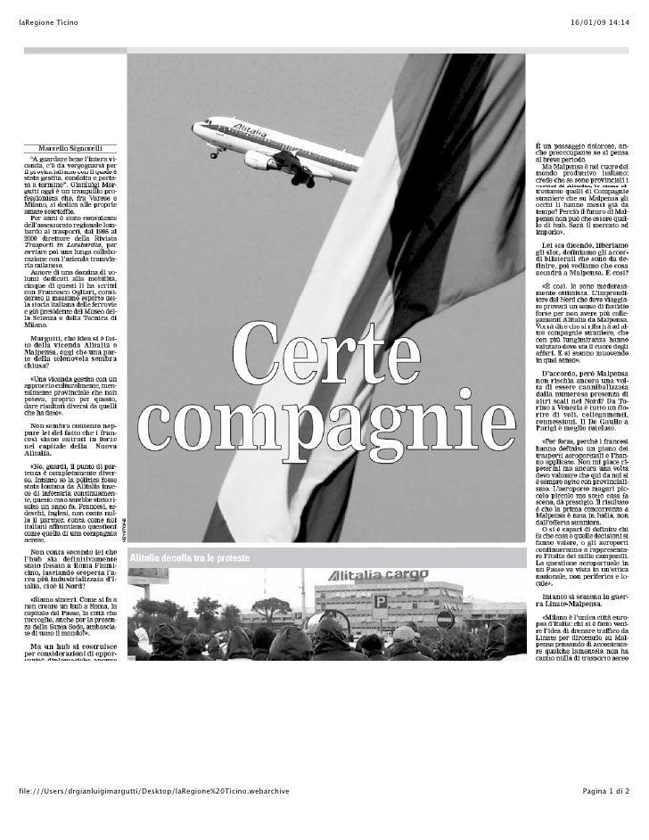La Regione Ticino: intervista a Margutti