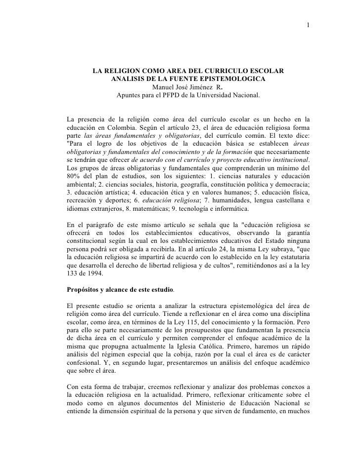 1              LA RELIGION COMO AREA DEL CURRICULO ESCOLAR              ANALISIS DE LA FUENTE EPISTEMOLOGICA              ...