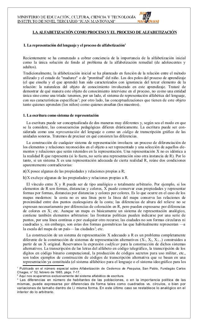 LA ALFABETIZACIÓN COMO PROCESO Y EL PROCESO DE ALFABETIZACIÓNI. La representación del lenguaje y el proceso de alfabetizac...