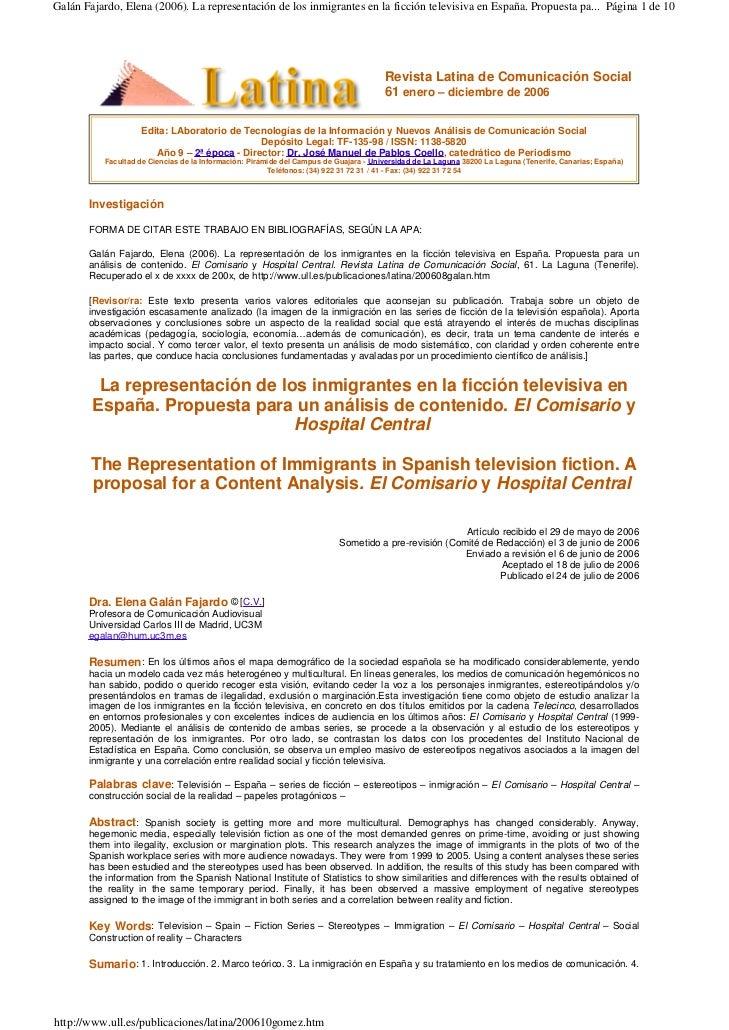 Galán Fajardo, Elena (2006). La representación de los inmigrantes en la ficción televisiva en España. Propuesta pa... Pági...