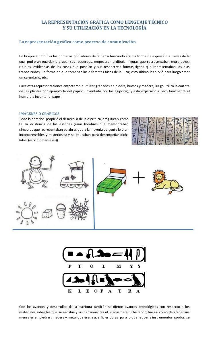 La representación gráfica como lenguaje técnico y su utilización en la tecnología