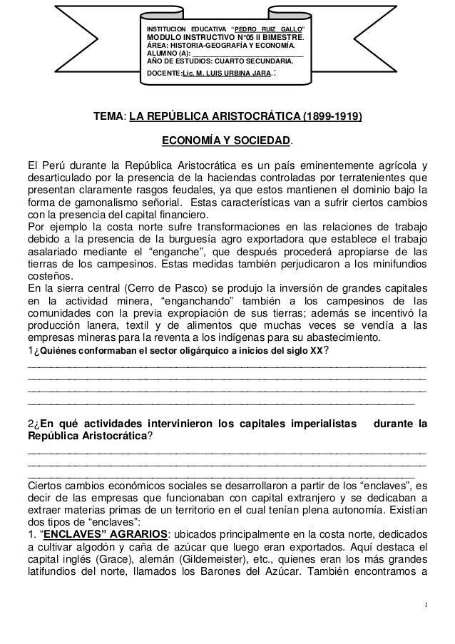 1 TEMA: LA REPÚBLICA ARISTOCRÁTICA (1899-1919) ECONOMÍA Y SOCIEDAD. El Perú durante la República Aristocrática es un país ...