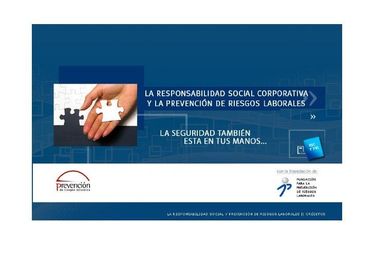 MENULA RESPONSABILIDAD SOCIAL CORPORATIVA YLA PREVENCIÓN DE RIESGOS LABORALES1.CAPÍTULO PRIMERO: PRESENTACIÓN1.1 Introducc...