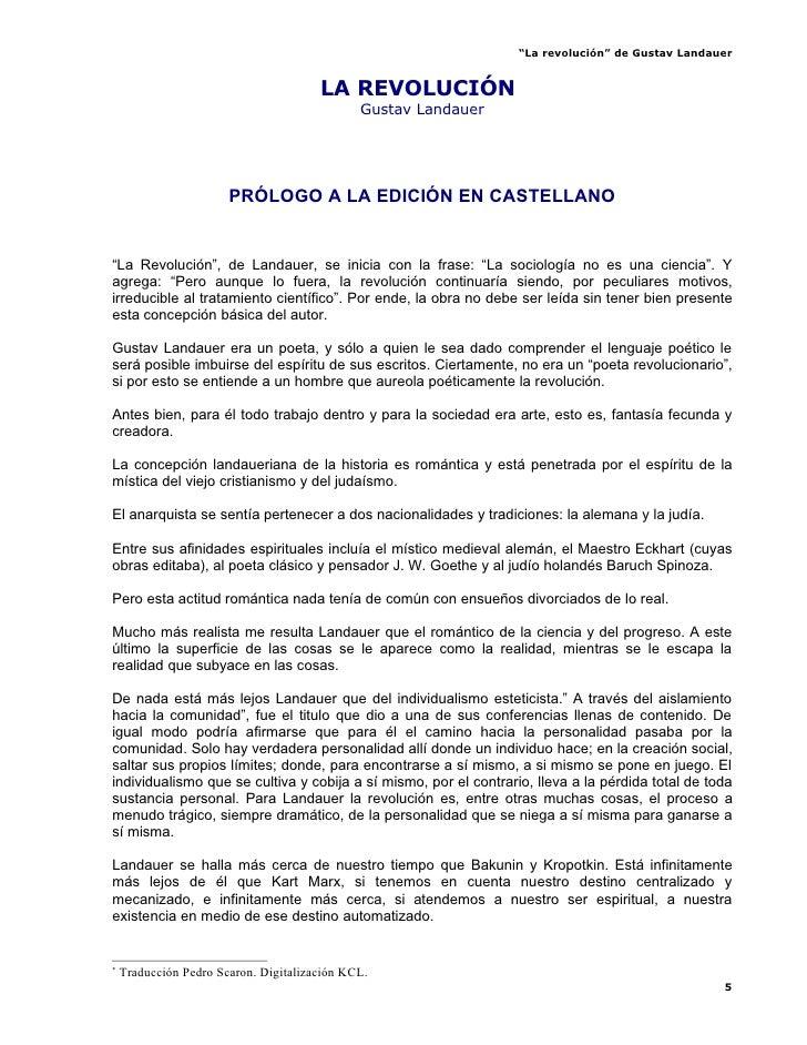 """""""La revolución"""" de Gustav Landauer                                          LA REVOLUCIÓN*                                ..."""
